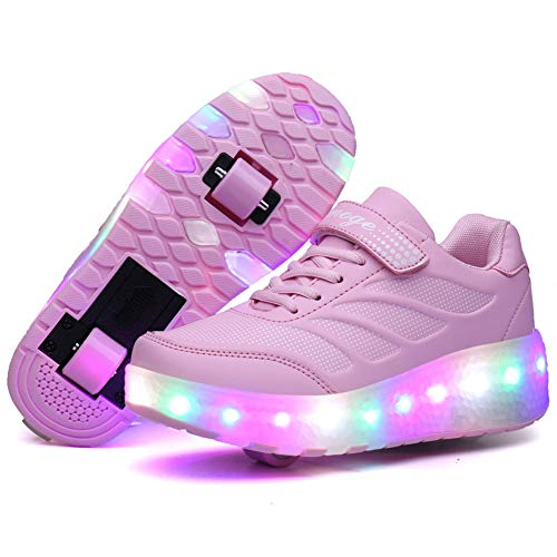 Recollect Kinder LED Schuhe mit Rollen Drucktaste Einstellbare Skateboardschuhe 1Räder/2 Räder Outdoor Gymnastik Turnschuhe Für Junge Mädchen